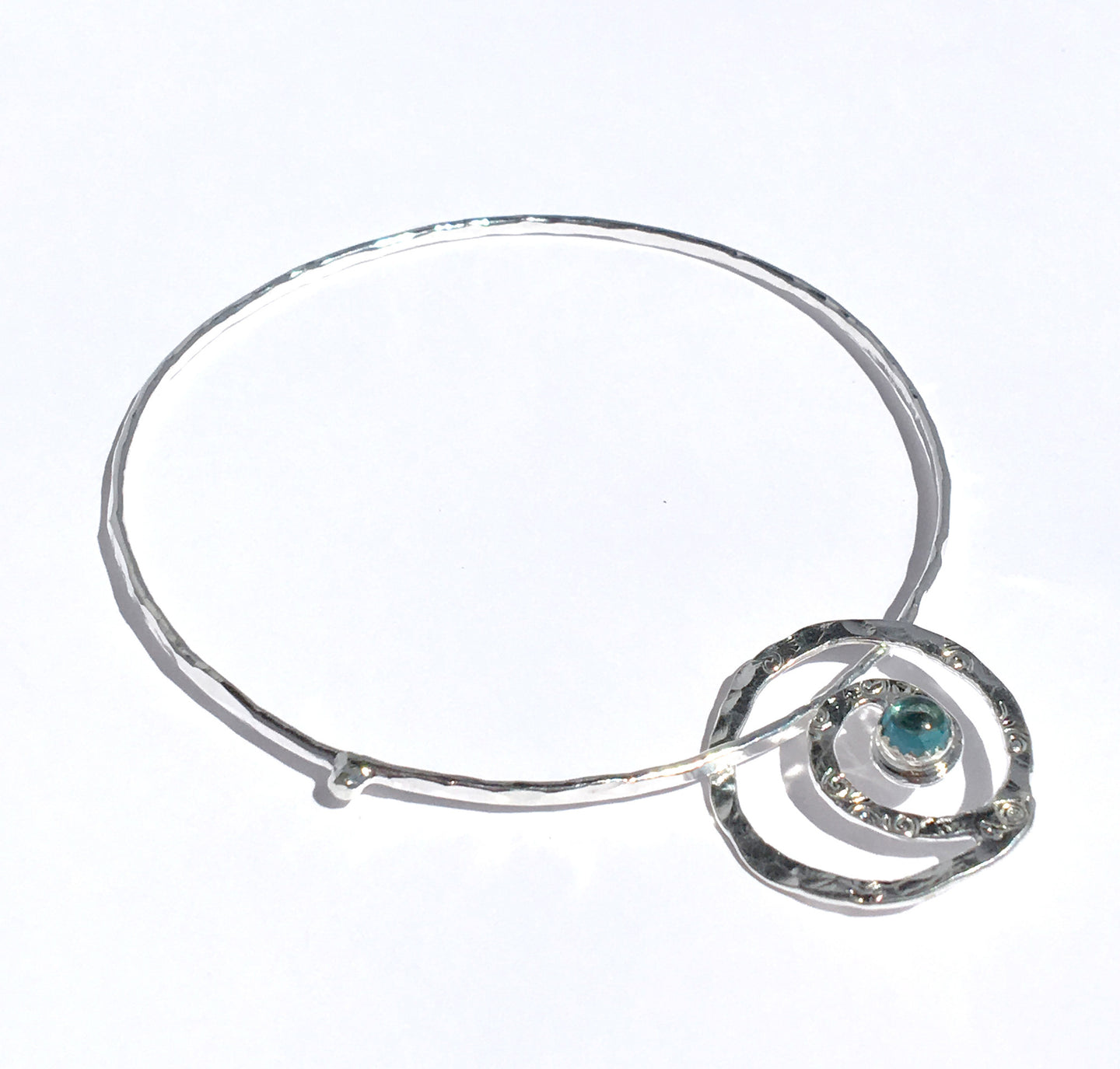 Sterling Spiral of Life & Transformation Bangle with Gem