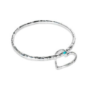 Hefty Open Floating Heart Bangle with Persian Turquoise
