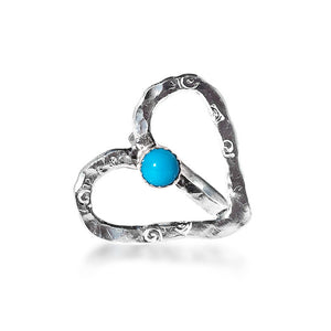 Open Heart Ring with Sleeping Beauty Turquoise