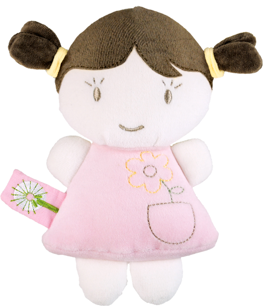 Rattle Brunette Doll - Pink Organic Toy