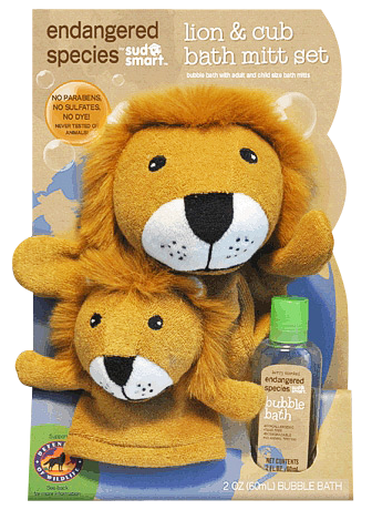 Lion & Cub Bath Mitt Set