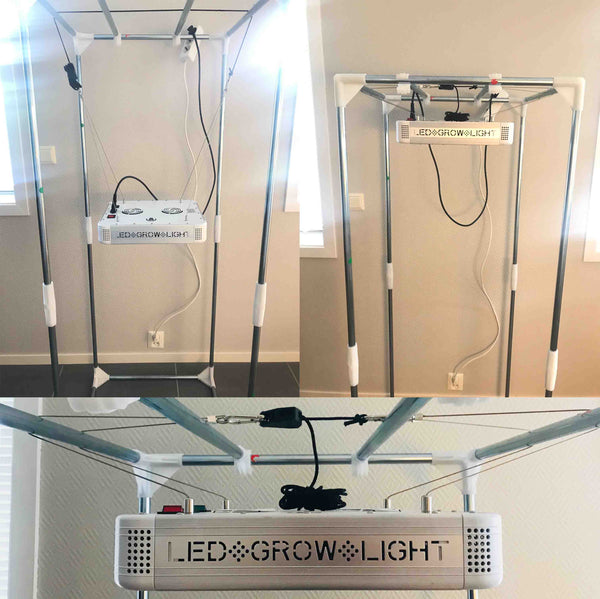 Hang LED grow light in tent