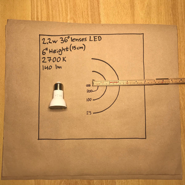 2.2W E27 LED bulb PPFD and light footprint test