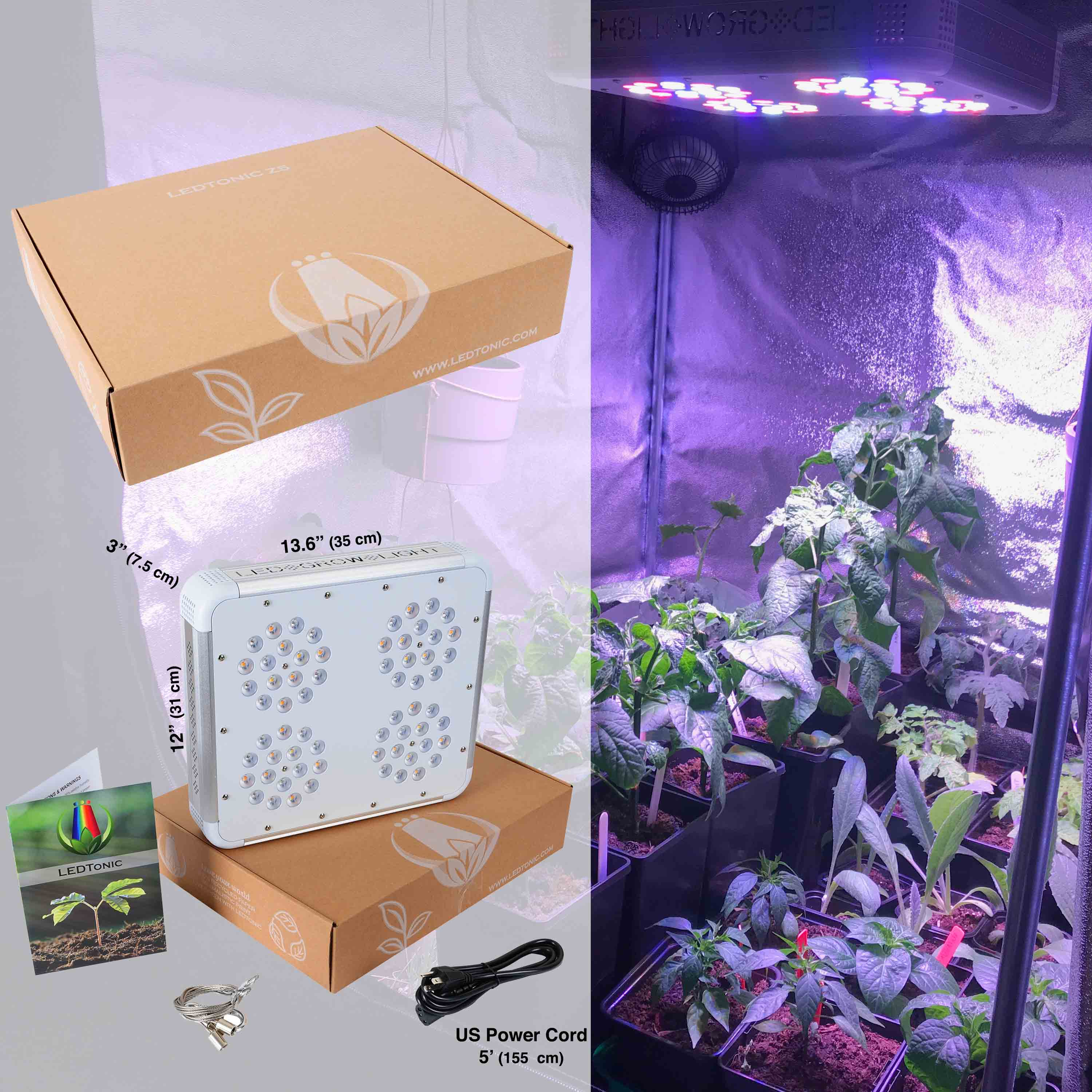 LEDTonic Z5 Indoor Grow Light - size and box content