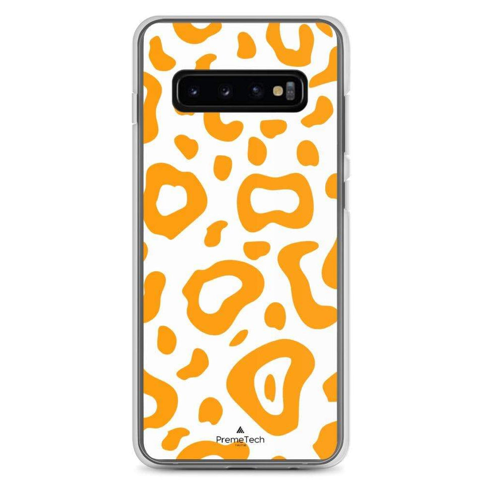 PremeTech Samsung Galaxy S10+ Orange & White Leopard Print Samsung Case