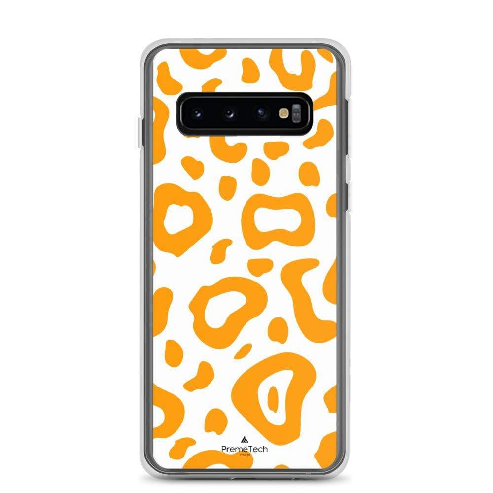 PremeTech Samsung Galaxy S10 Orange & White Leopard Print Samsung Case