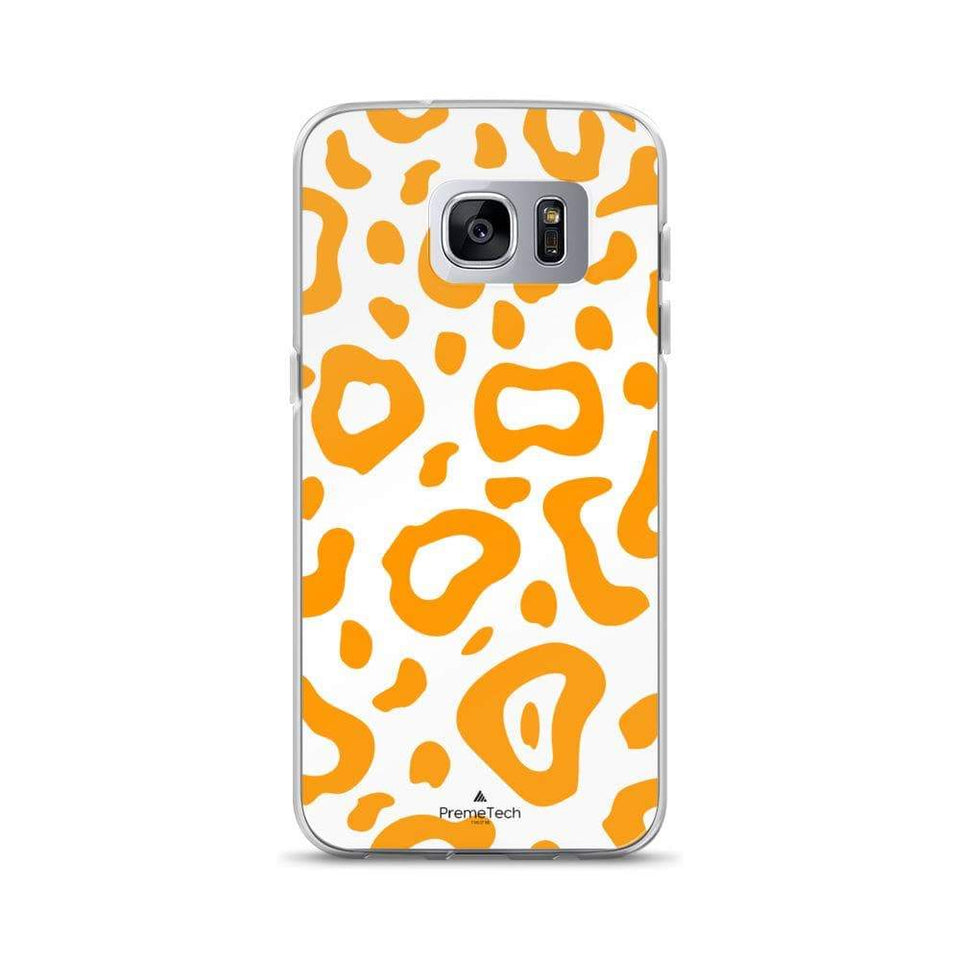 PremeTech Samsung Galaxy S7 Edge Orange & White Leopard Print Samsung Case