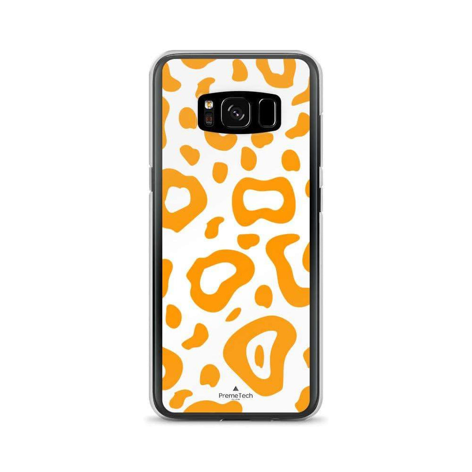 PremeTech Samsung Galaxy S8 Orange & White Leopard Print Samsung Case