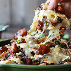 Cranberry, butternut, and brussel sprouts brie nachos