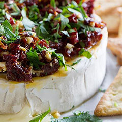 Baked brie and sun dried tomatoes