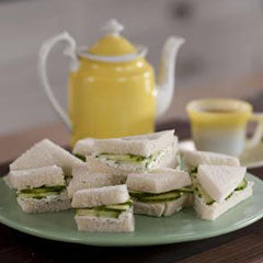 Cucumber, lemon and cream cheese tea sandwich