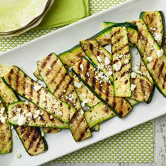 Grilled zucchini with herb salt and feta