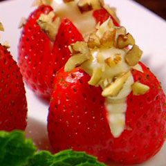 Cream cheese and pecan stuffed strawberries