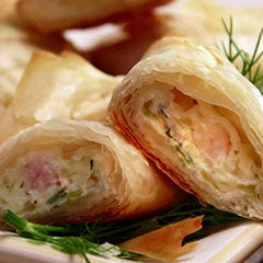 Shrimp and cream cheese phyllo triangles