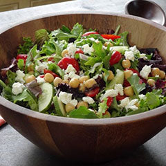 Chickpea feta salad over greens