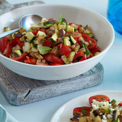 Grilled vegetable salad with feta and mint