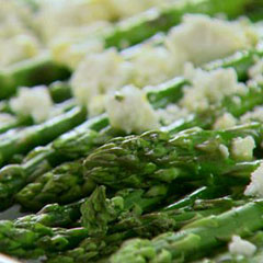 Roasted asparagus with feta cheese