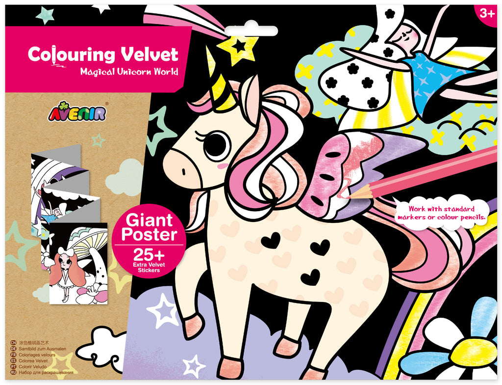 avenir colouring velvet set - magical unicorn world