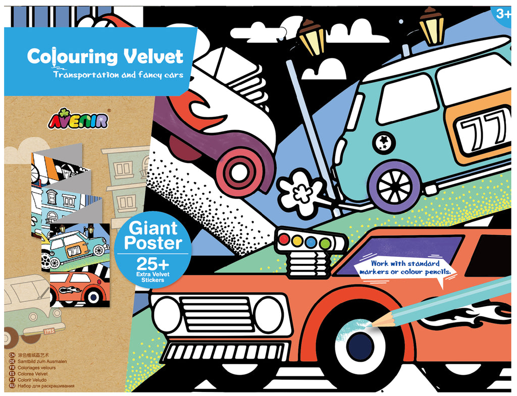 avenir colouring velvet arts & crafts kit transportation