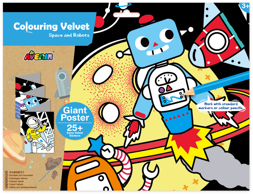 avenir colouring velvet arts & crafts kit - space & robots