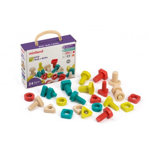 miniland aptitude eco activity nuts & bolts 24 piece set