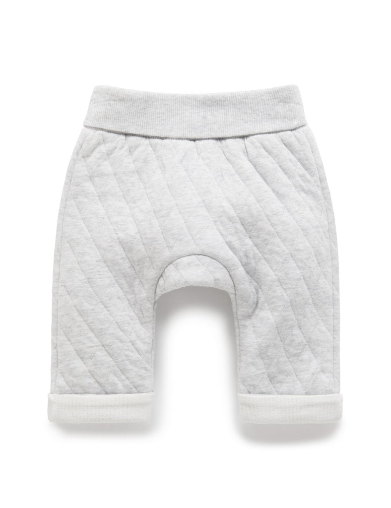 purebaby quilted pants in pale grey melange