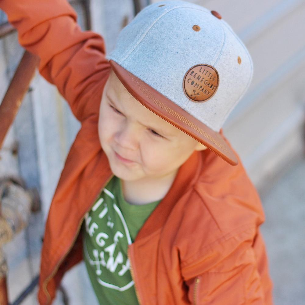 little renegade grey felt and tan cap
