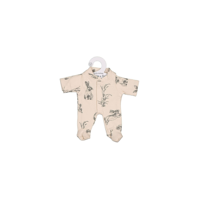 burrow & be almond burrowers sleep suit in 21cm doll