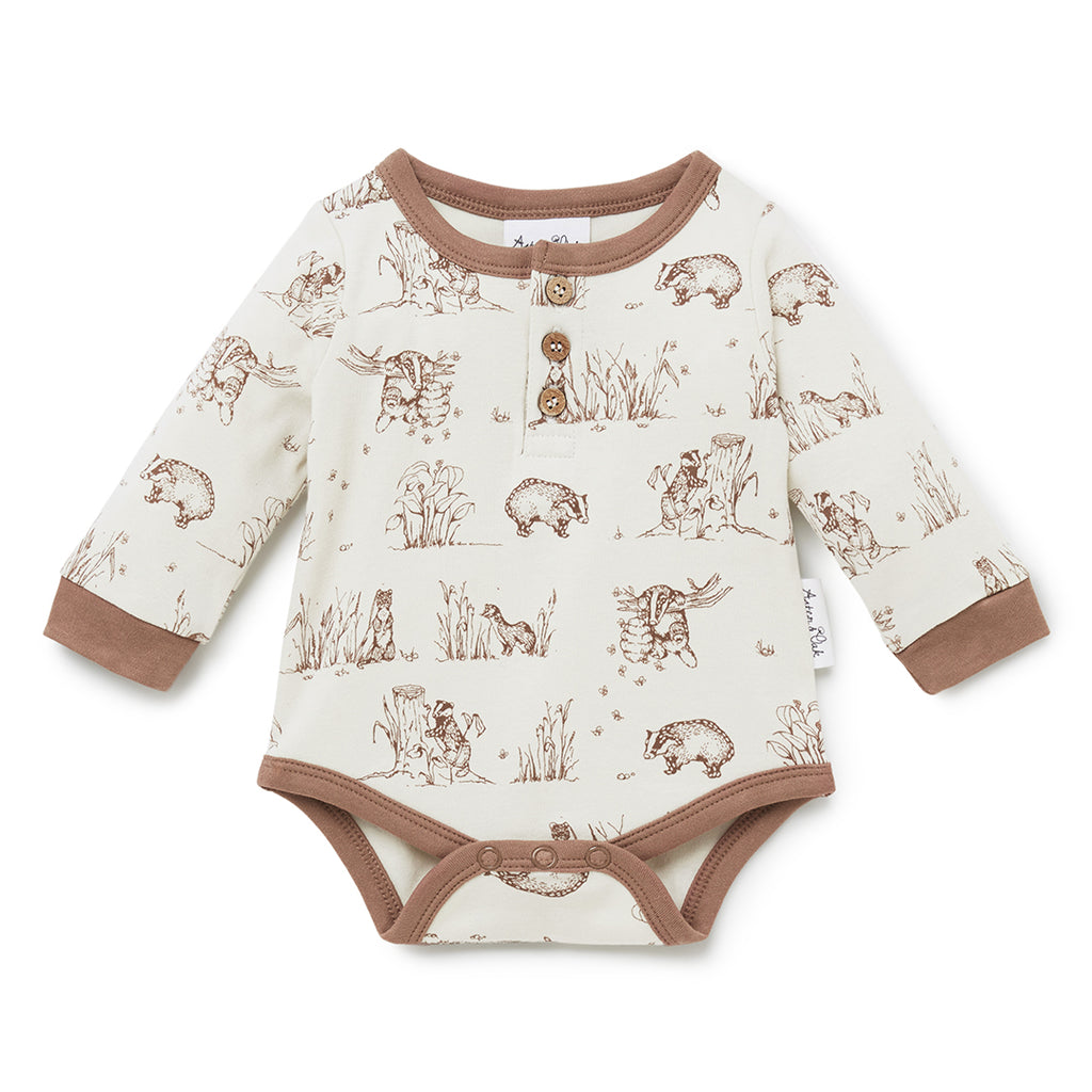 aster & oak baby clothing badger print bodysuit