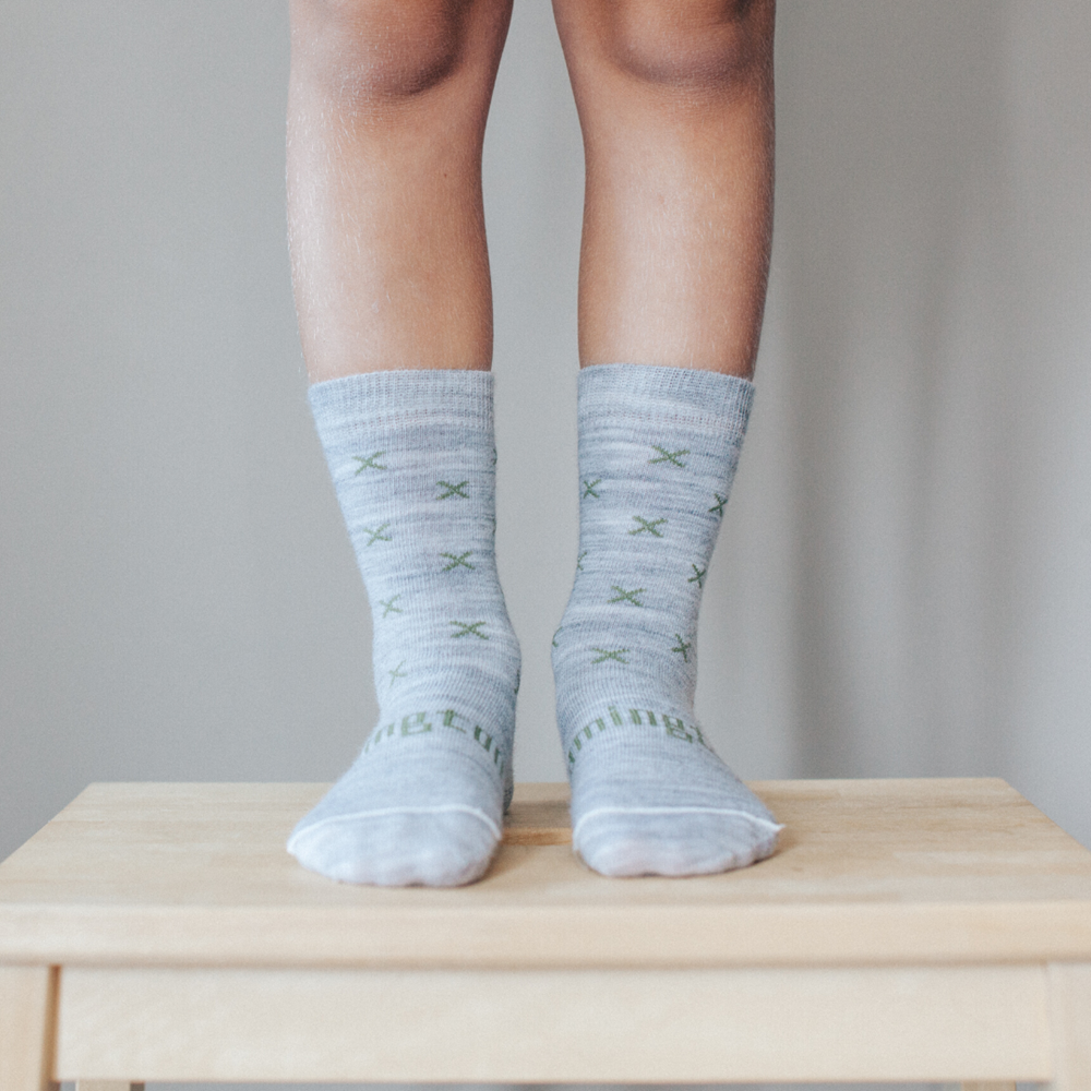 lamington merino socks crew length in basil