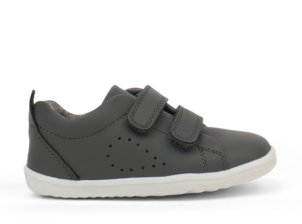 bobux grass court leather sneaker in smoke grey