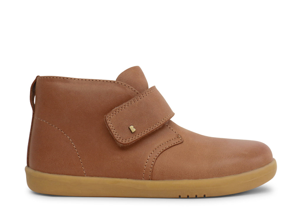 bobux kid plus leather desert boot in caramel