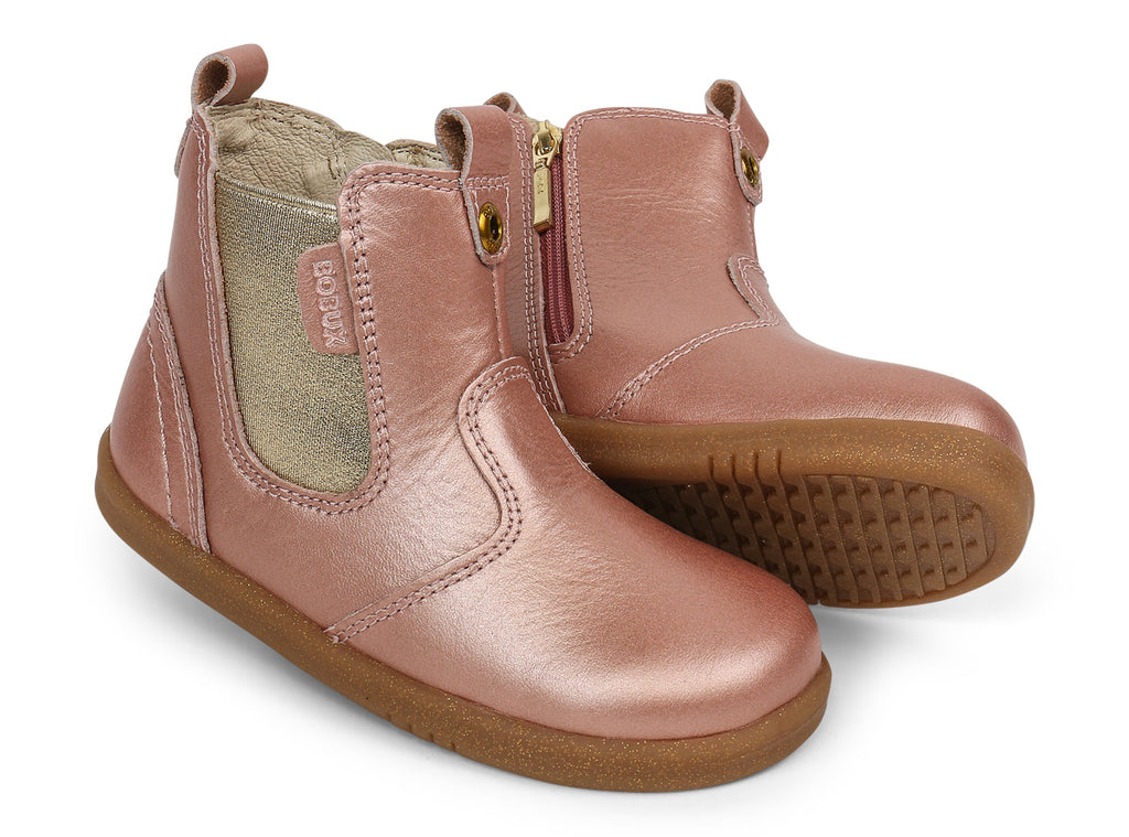 Bobux i walk leather jodhpur boots in rose gold
