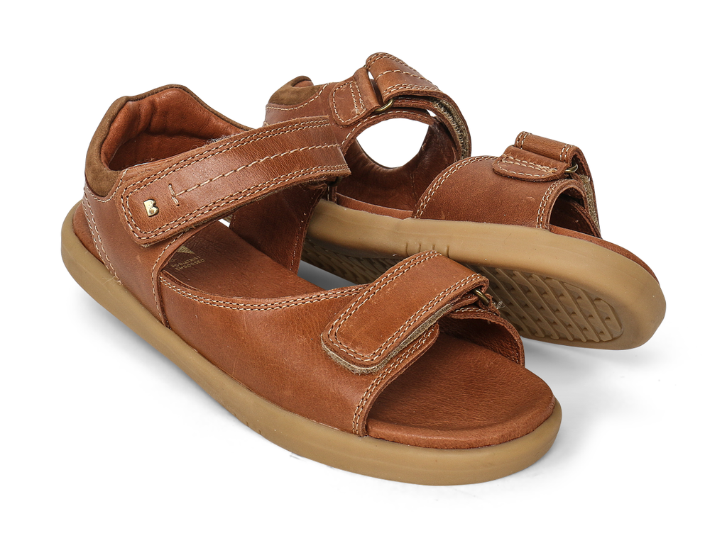 bobux kid plus driftwood sandal in caramel quickdry  leather