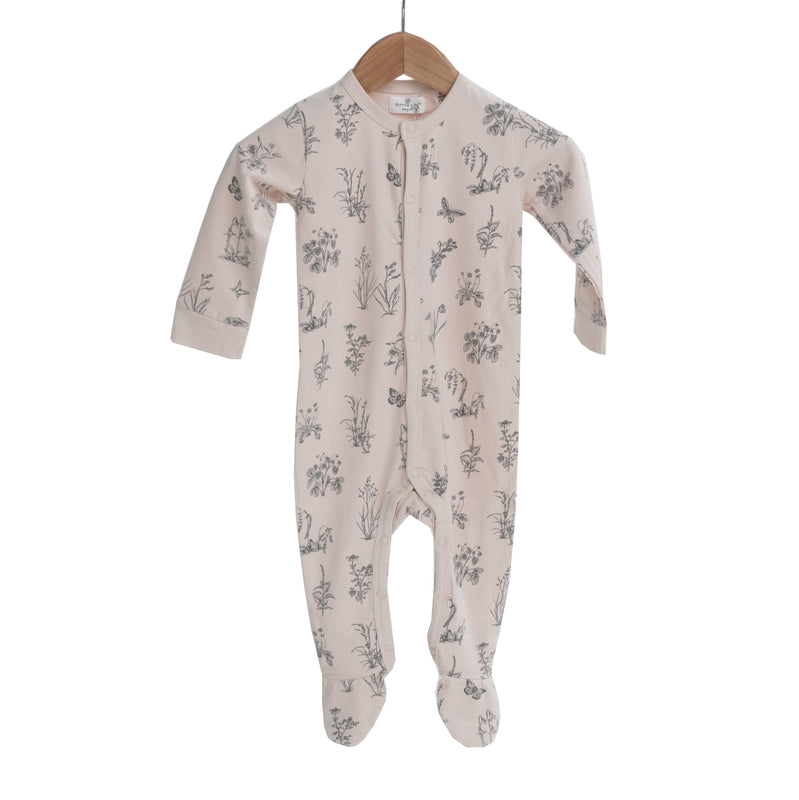 burrow & be baby sleep suit in blush meadow