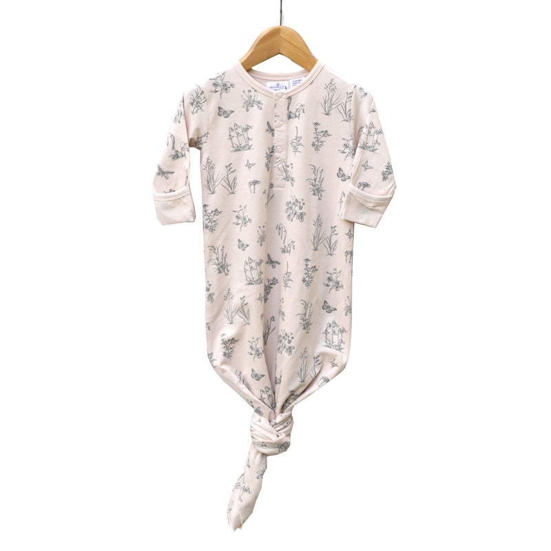 burrow & be baby sleep gown in blush meadow