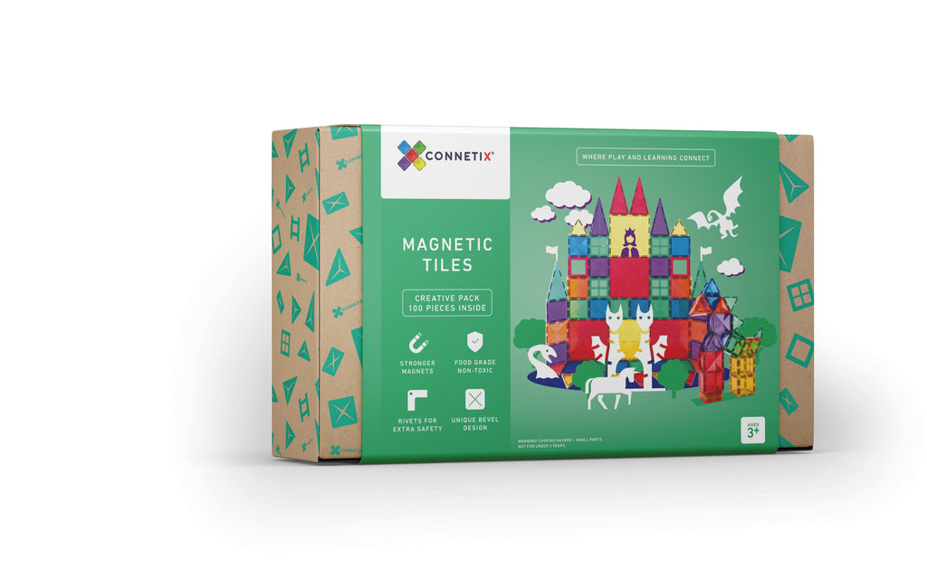 connetix magnetic tiles 100 piece pack