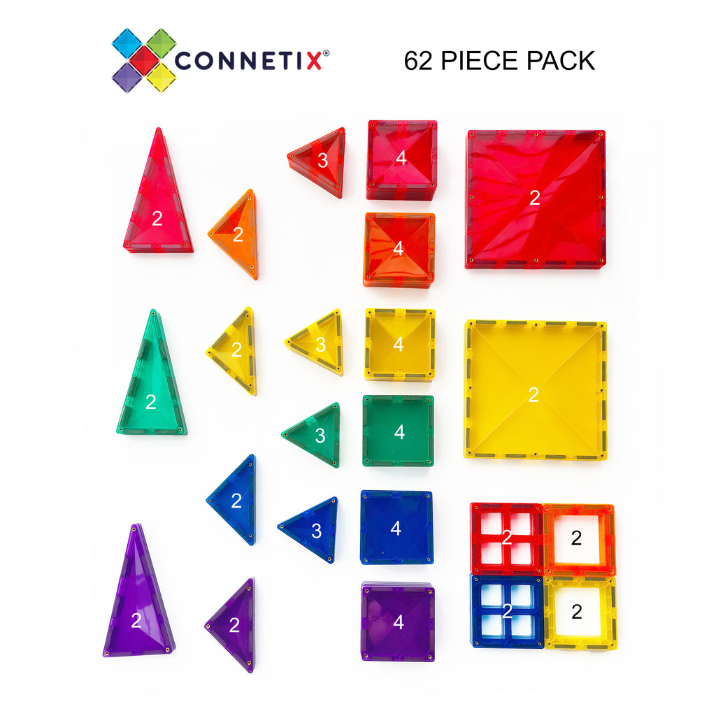 connetix magnetic tiles 62 piece pack