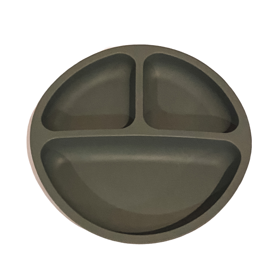 petite eats silicone suction plate in charcoal