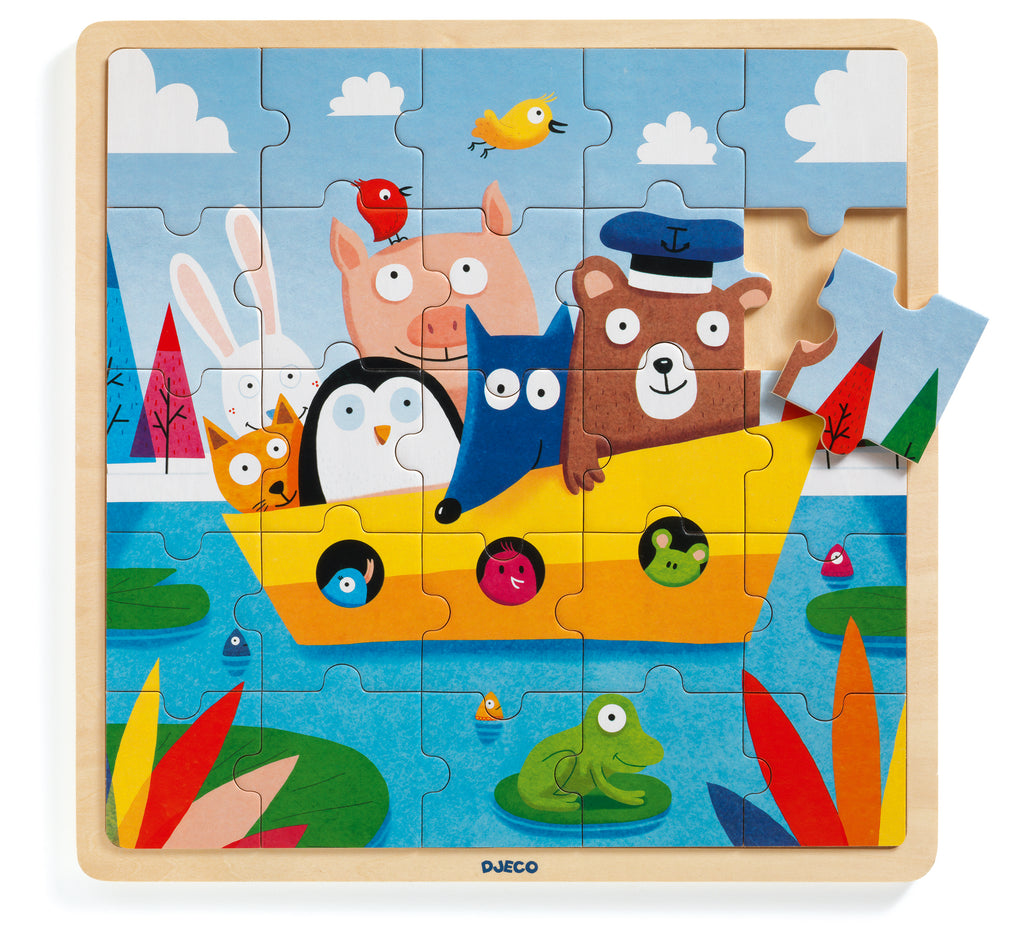 djeco wooden boat 25 piece puzzle