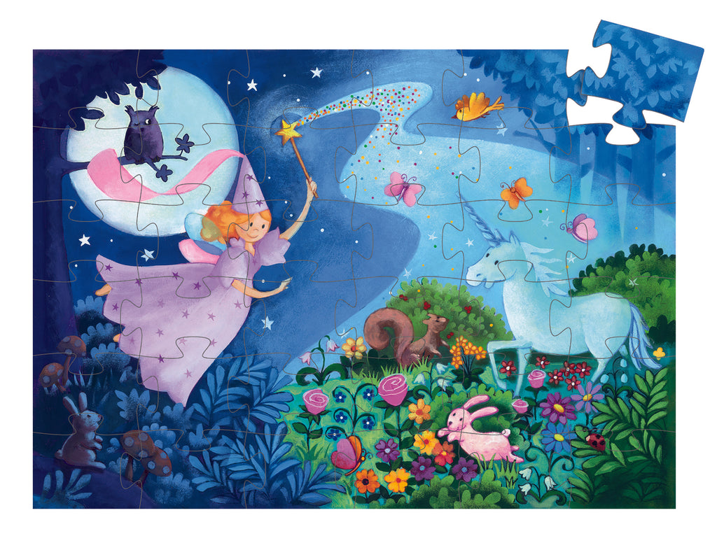 djeco silhouette puzzle fairy & the unicorn