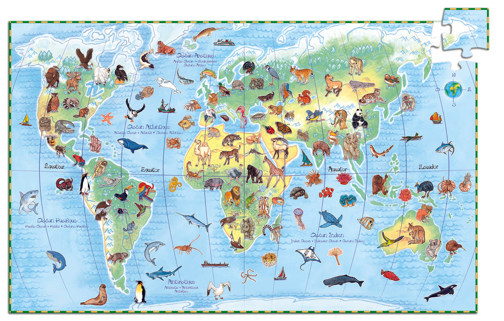 djeco the worlds animals 100 piece puzzle