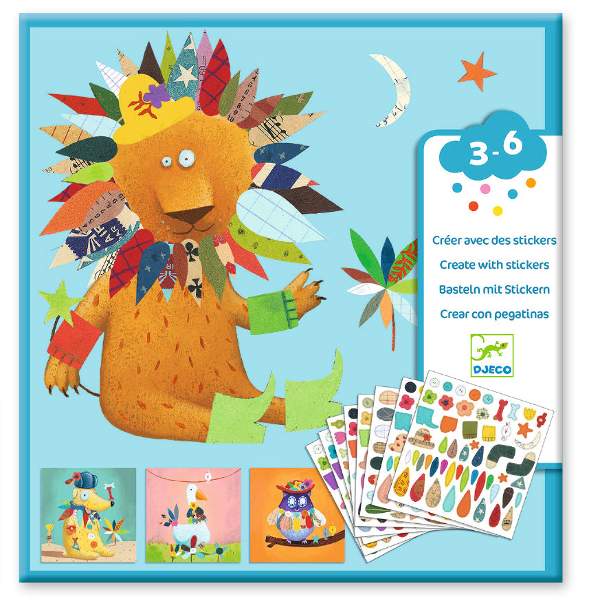 djeco create with stickers animals kit