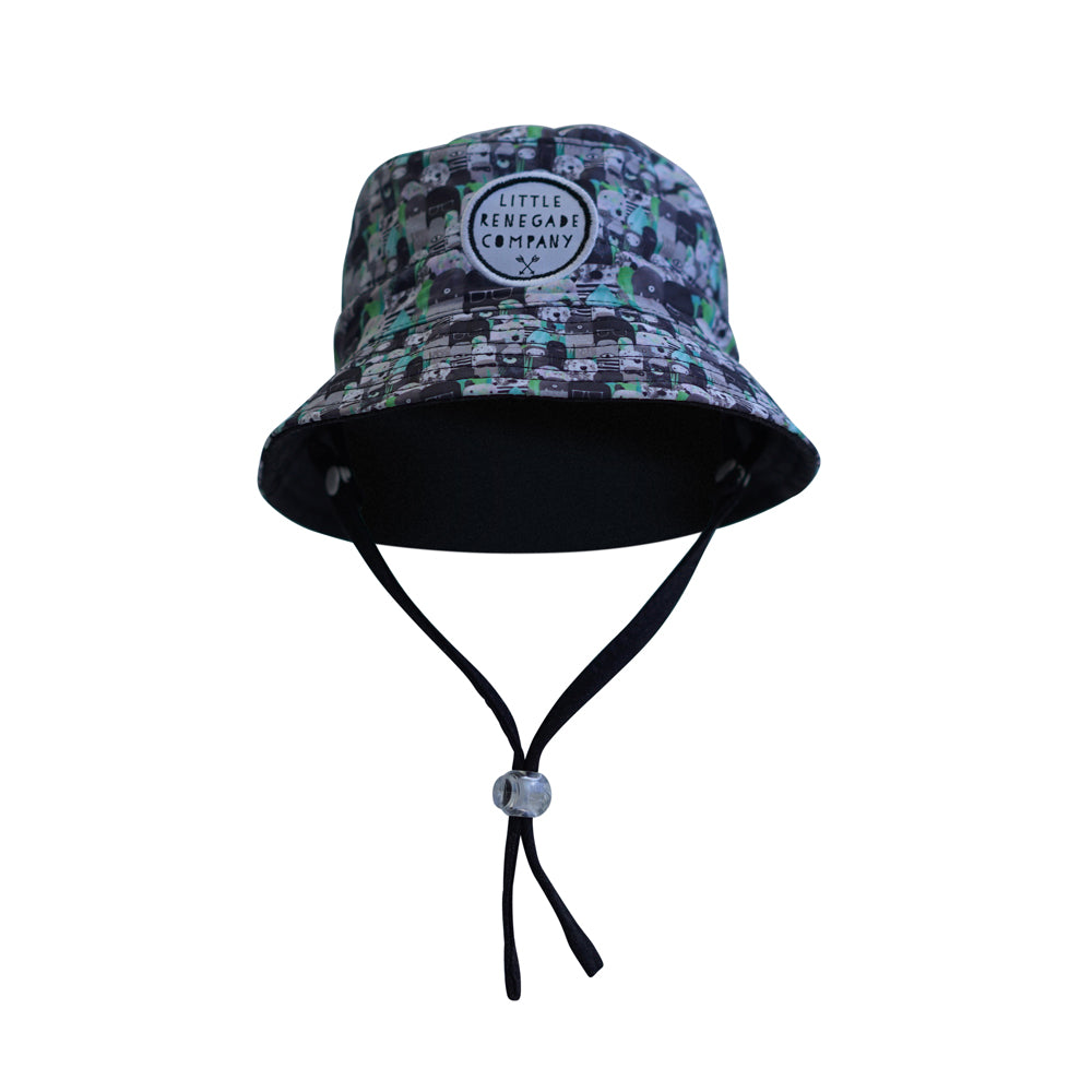 little renegade bucket style sun hat bears & beasties