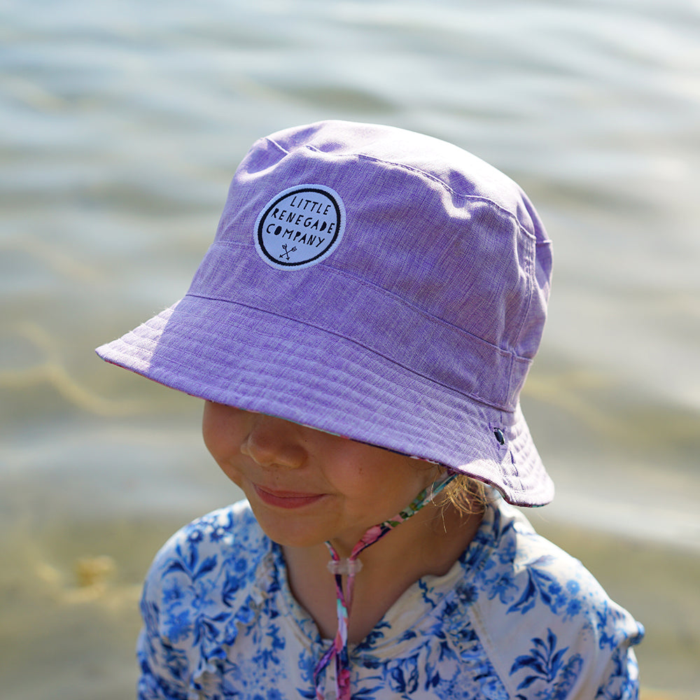 little renegade reversible sun hat in pastel posies