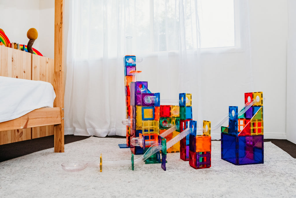 connetix tiles ball run set 92 pieces magnetic marble run