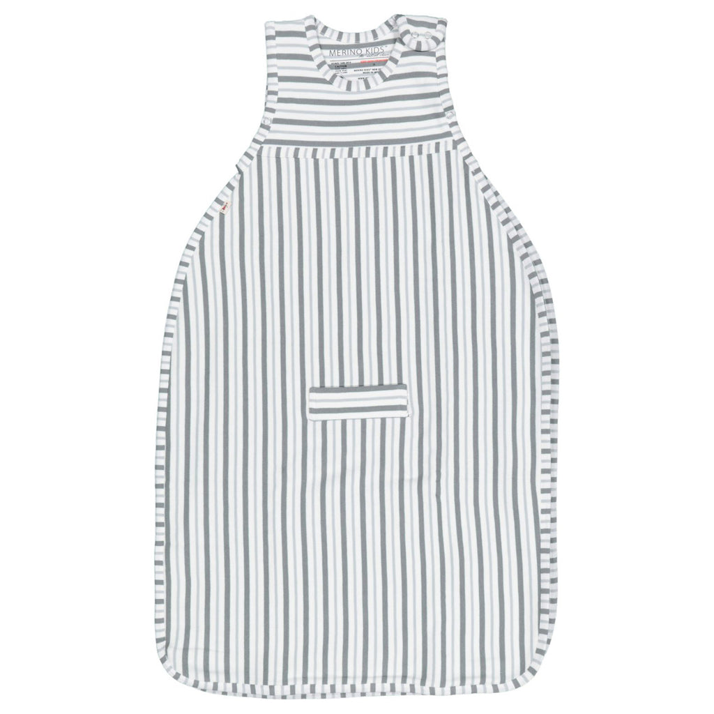 merino kids duvet weight go go bag in flint grey stripe