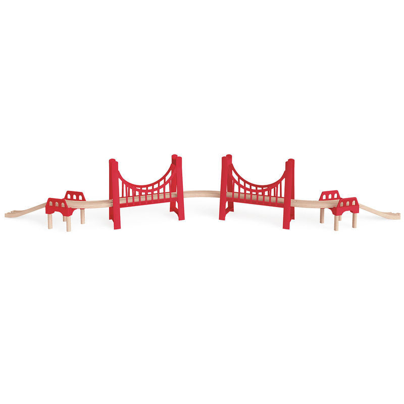 hape wooden extended double suspension bridge