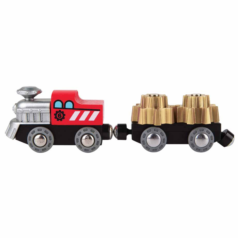 hape wooden railway cog wheels train