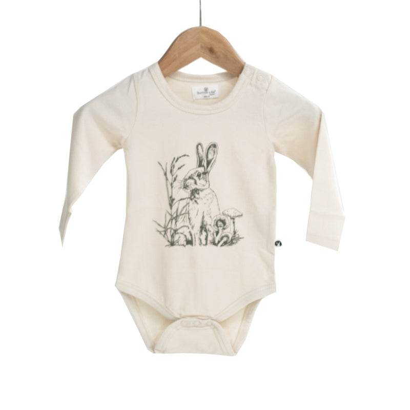 burrow & be long sleeve bodysuit in baxter almond print